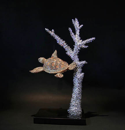 TURTLE AND STAGHORN CORAL by Clarita Brinkerhoff Ocean Blue Galleries