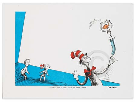 A GAME THAT I CALL UP-UP-UP WITH A FISH Dr. Seuss Illustration Ocean Blue Galleries