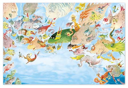 A PLETHORA OF FISH Dr. Seuss Illustration Ocean Blue Galleries
