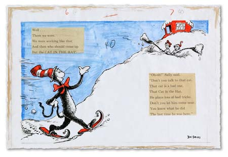 AND THEN WHO SHOULD COME UP BUT THE CAT IN THE HAT Dr. Seuss Illustration Ocean Blue Galleries