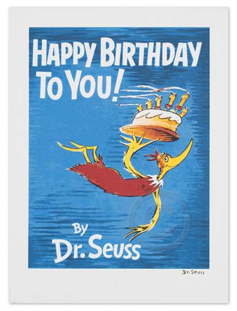 HAPPY BIRTHDAY TO YOU Dr. Seuss Illustration Ocean Blue Galleries