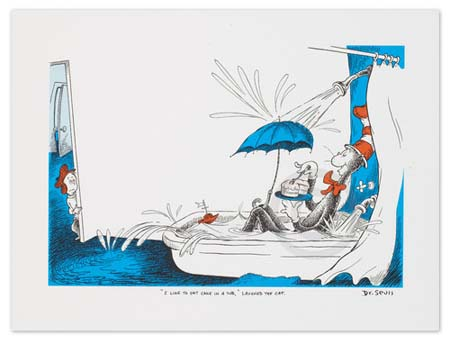 I LIKE TO EAT CAKE IN A TUB Dr. Seuss Illustration Ocean Blue Galleries