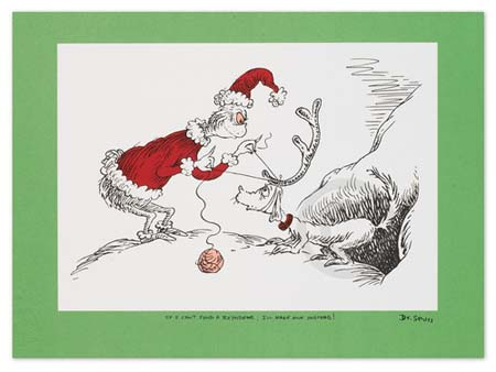 IF I CAN'T FIND A REINDEER, I'LL MAKE ONE INSTEAD Dr. Seuss Illustration Ocean Blue Galleries