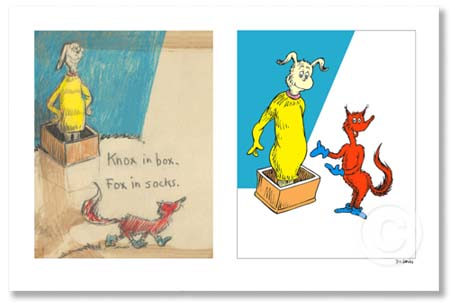KNOX IN BOX. FOX IN SOCKS Dr. Seuss Illustration Ocean Blue Galleries