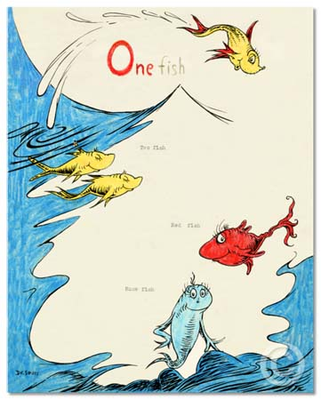 ONE FISH TWO FISH RED FISH BLUE FISH 60TH ANNIVERSARY Dr. Seuss Illustration Ocean Blue Galleries