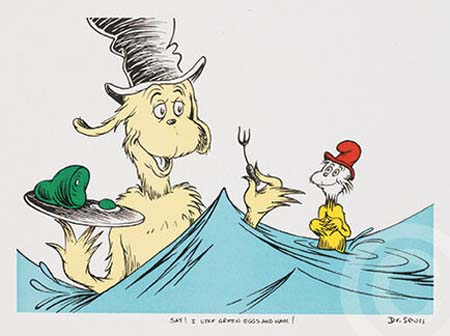SAY I LIKE GREEN EGGS AND HAM Dr. Seuss Illustration Ocean Blue Galleries