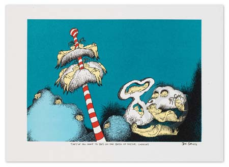 THEY'VE ALL GONE TO BED IN THE BEDS OF THEIR CHOICES Dr. Seuss Illustration Ocean Blue Galleries