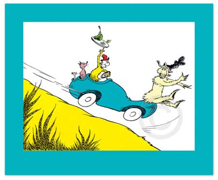WOULD YOU COULD YOU IN A CAR Dr. Seuss Illustration Ocean Blue Galleries